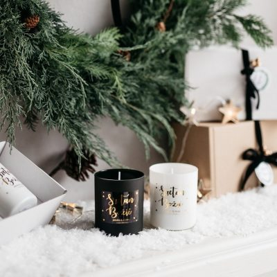 božićna mirisna svijeća bijela