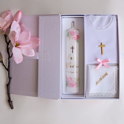 set za krštenje božur zlatni