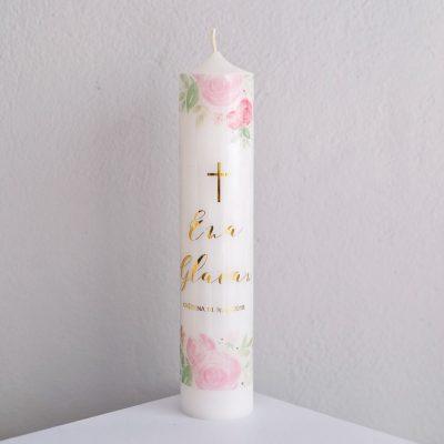 personalizirana krsna svijeća sa zlatnim slovima