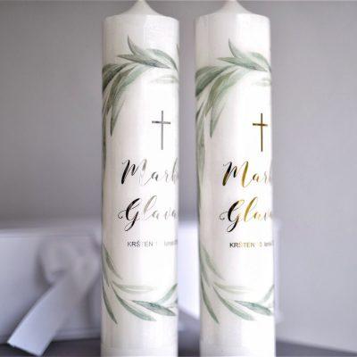svijeće za krštenje s imenom djeteta