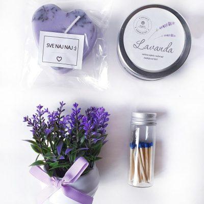 poklon paket za rođendan sa svijećama, buketom i šibicama