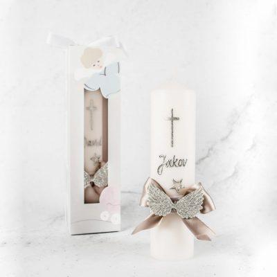 krsna svijeća sa srebrnim imenom