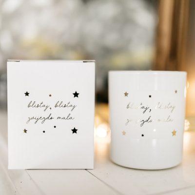 mirisna svijeća s natpisom blistaj blistaj zvijezdo mala
