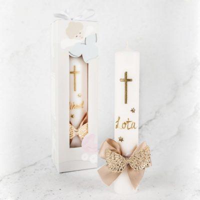 krsna svijeća sa imenom u zlatnoj boji