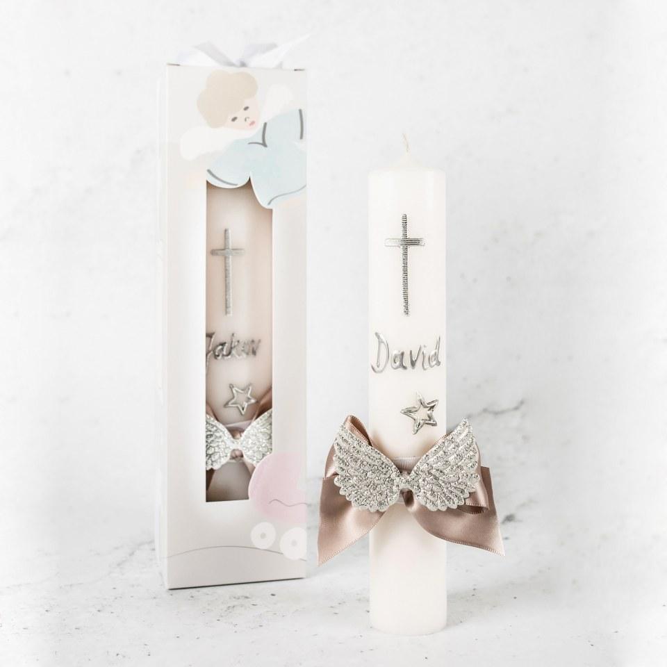 krsna svijeća sa imenom u srebrnoj boji