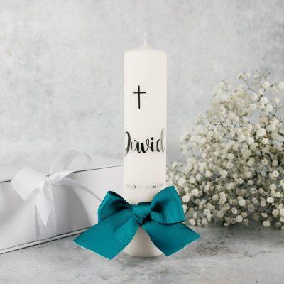 svijeća za krštenje sa srebrnim imenom